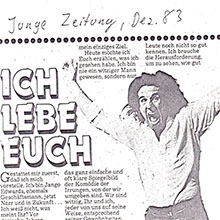 JANGO EDWARDS REVUE DE PRESSE- ALLEMAGNE - 1983 JUNGE ZEITUNG_220x220