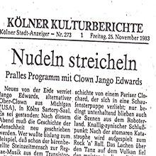 JANGO EDWARDS REVUE DE PRESSE- ALLEMAGNE - 1983 KOLNER KULTURBERICHTE_220x220