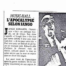 JANGO EDWARDS REVUE DE PRESSE- FRANCE - 1984 LE MATIN_220x220