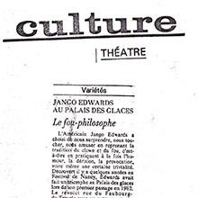 JANGO EDWARDS REVUE DE PRESSE- FRANCE - 1984 LE MONDE_220x220